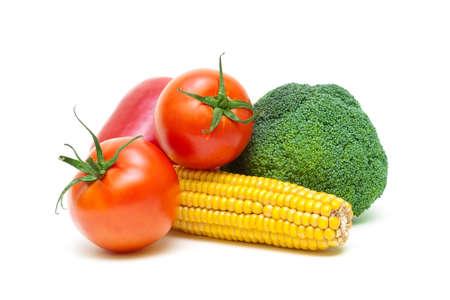 fresh ripe vegetables isolated on a white background close-up. horizontal photo. Stock Photo