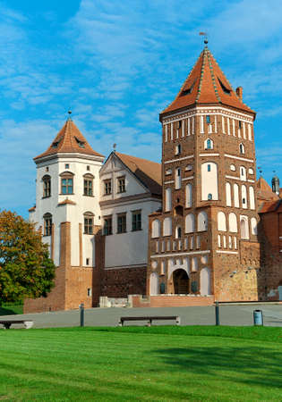eyelids: Mir Castle Complex..Belarus. vertical photo. Editorial
