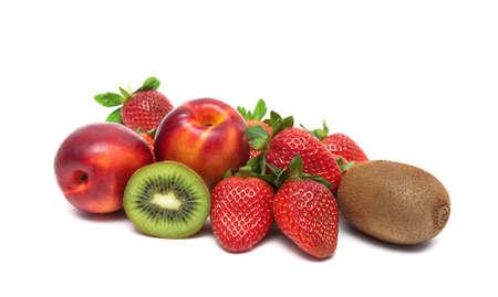 kiwis: strawberries, kiwis and nectarines isolated on white background. horizontal photo. Stock Photo