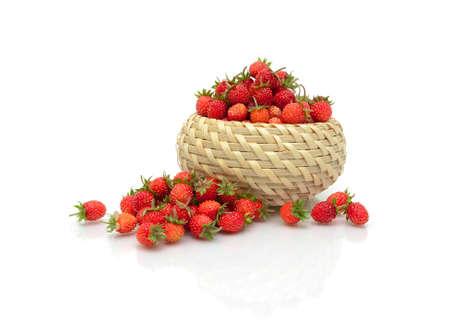 'wild strawberry: juicy ripe wild strawberry isolated on a white background with reflection. horizontal photo.