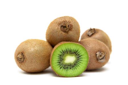 ripe kiwi fruit isolated on white background close up. horizontal photo.