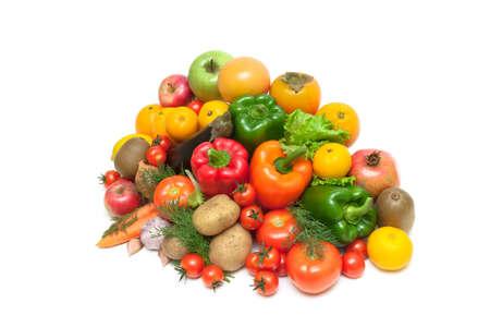fruits and vegetables isolated on white background. horizontal photo. Stock Photo