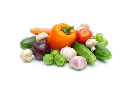 vegetables and mushrooms isolated on white background. horizontal photo.