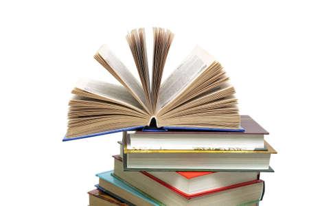 Books closeup isolated on white background. horizontal photo.