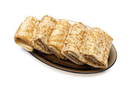 pancakes on a plate isolated on white background. horizontal photo. Stock Photo