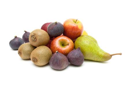 Ripe juicy fruits isolated on white background. horizontal photo. Stock Photo
