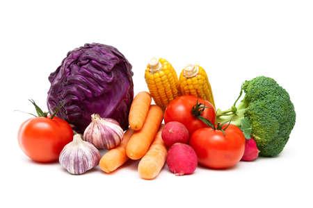 Ripe vegetables isolated on white background close up. horizontal photo.