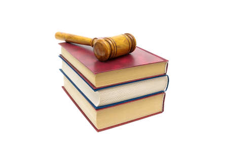judicial proceeding: Judge gavel and books isolated on white background. horizontal photo. Stock Photo
