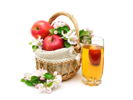 apples and glass of apple juice isolated on white background. horizontal photo.