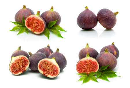 Ripe figs isolated on white background. Horizontal photo. Banque d'images