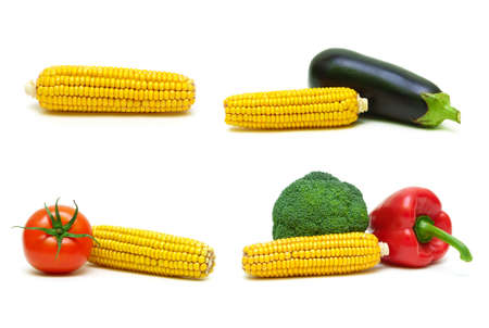 Corn and other vegetables on a white background. Horizontal photo. Stock Photo