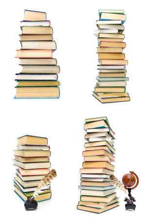 stack of different books on a white background. Vertical photo. Stock Photo
