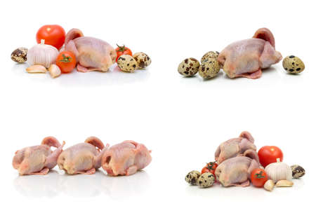 quail carcasses, eggs and vegetables on a white background. horizontal photo.