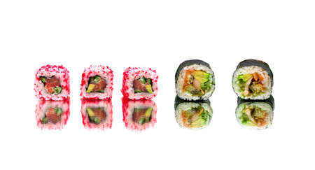 Japanese sushi and rolls isolated on white background. horizontal photo.