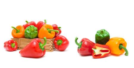 pepper close-up isolated on white background. horizontal photo. 版權商用圖片
