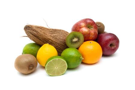 Ripe fruit isolated on white