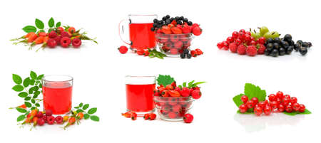 berries and drink on a white background. horizontal photo. Stock Photo