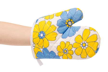 Kitchen gloves in hand beautiful on white background Banque d'images
