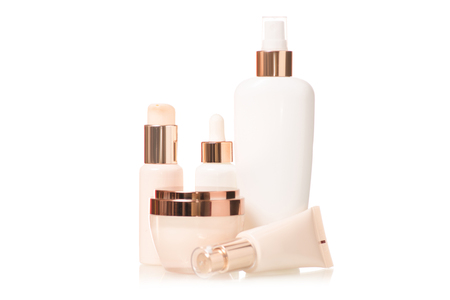 Set of bottle with creams cosmetology cosmetics on white background isolation
