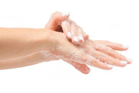 Soapy female hand foam on white background isolation