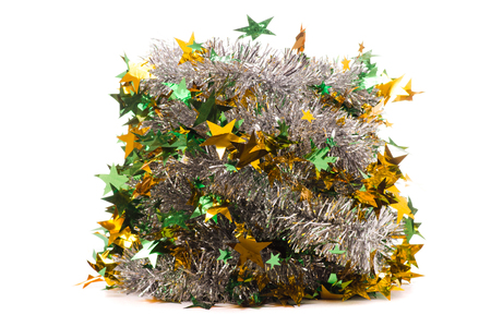 Christmas decoration tinsel gold on white background isolation