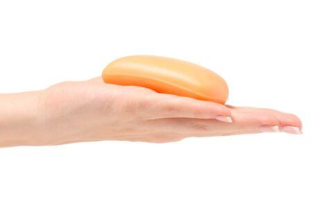 Female hand soap on white background isolation