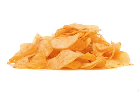 Chips golden snack on white background isolation