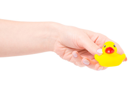 Child rubber duck in female hands on white background isolation