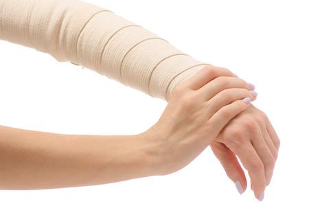 Female hand elastic bandage injury on white background isolation Stock Photo