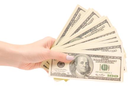 Un paquete de dólares de dinero en manos sobre un fondo blanco de aislamiento Foto de archivo - 91038635