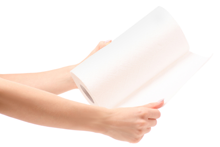 Roll of paper towels in hand on a white background isolation Stock Photo