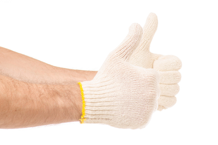 Male hand in construction gloves good on white background isolation Stock Photo