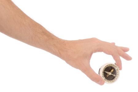 Male hand compass on white background isolation Archivio Fotografico