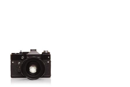 Camera old black on white background isolation