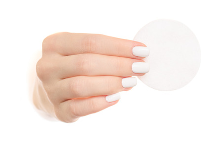 흰색 배경에 고립 된 여성 손에 디스크를 디스크