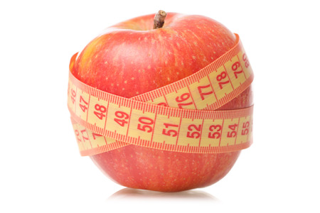 Apple centimeter health losing weight on white background isolation