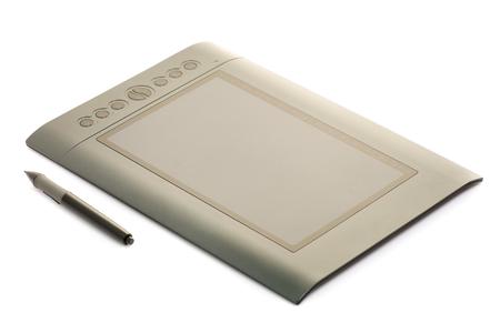 Grafische tablet zwarte grafiek op witte isolatie als achtergrond