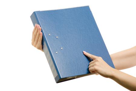 Clerical folder in a female hands on a white background isolation folder registrar