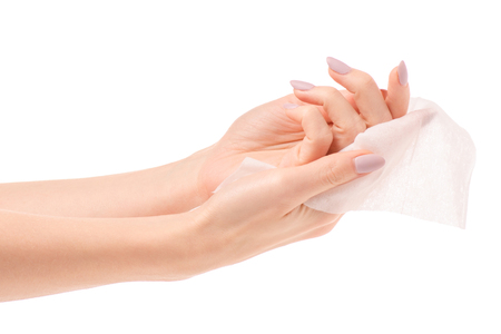 Female hand wet wipe on white background isolation