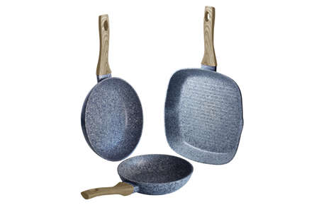Pans with beige handles art grafit non-stick coating on white background isolation