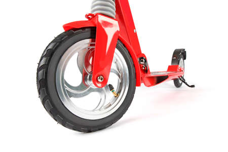 Red scooter photo on white background isolation