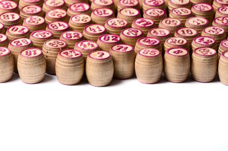 Kegs of lotto wooden many macro photo