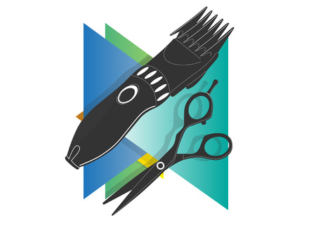 Scissors hairdressers icon on a background of multicolored triangles Stock Photo