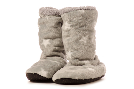 Slippers boots warm on a white background isolation
