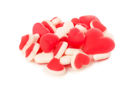 Jelly heart candies sweets on white background isolation