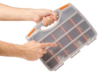black power unit laptop in hand on white background isolation