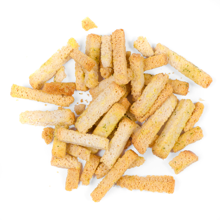 Bread crumbs in spices on a white background isolation, top view