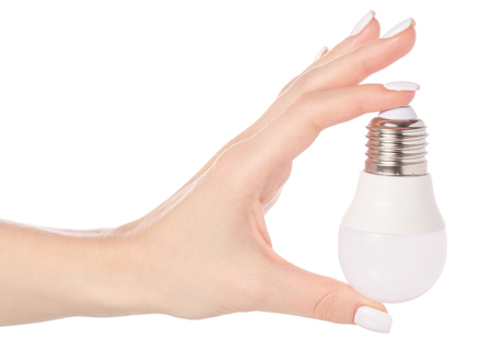 Led lamp in hand on white background isolation