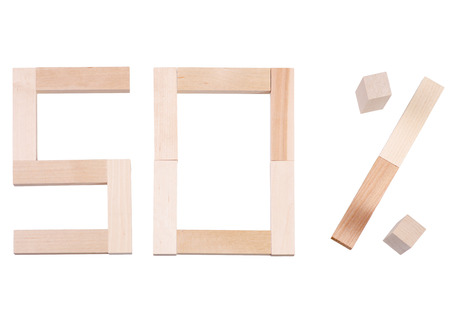 Fifty percent wooden on white background isolation