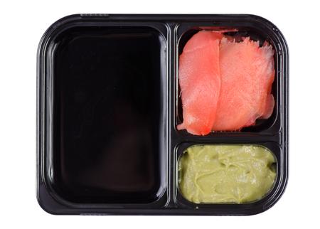 Set for sushi soy sauce ginger wasabi on white background isolation